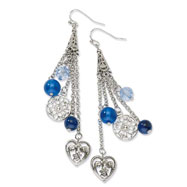 Silver-tone Light & Dark Blue Crystal Dangle Earrings