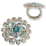 Silver-tone Light Blue & Aqua Crystals Swirl Stretch Ring