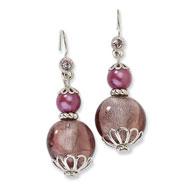 Silver-tone Purple Crystal With Purple Beads Dangle Earrings