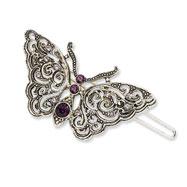 Silver-tone Amethyst & Light Amethyst Butterfly Barrette