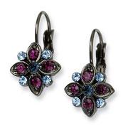 Black-plated Purple, Light & Dark Blue Crystal Flower Leverback Earrings