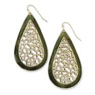 Brass-tone Green Enamel Filigree Teardrop Dangle Earrings