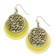 Brass-tone Filigree & Green Enamel Circle Dangle Earrrings