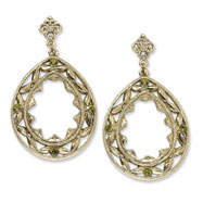Brass-tone Green Crystal Teardrop Post Dangle Earrings