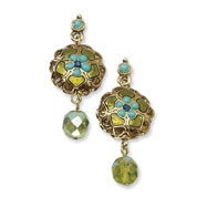 Brass-tone Aqua, Blue & Green Enamel With Green Crystal Post Earrings