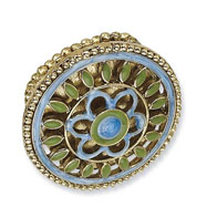 Brass-tone Blue & Green Enamel Floral Design Stretch Ring