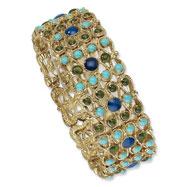 Brass-tone Blue & Green Crystal, Aqua Enamel Stretch Bracelet