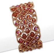 Copper-tone Orange Aurora Borealis Crystal Stretch Bracelet