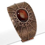 Copper-tone Smokey Brown Crystal Hinged Cuff Bangle
