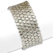 Silver-tone Textured Circles Stretch Bracelet