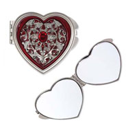 Pewter-tone Steel Red Enameled Heart Compact