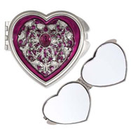 Pewter-tone Steel Purple Enameled Heart Compact