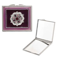 Silver-tone Steel Purple Enameled/Purple Crystal Rectangular Compact
