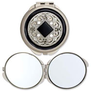 Silver-tone Steel Black Enameled/Clear Crystal Round Compact