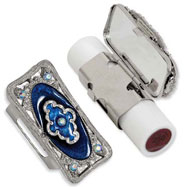 Silver-tone Blue Enameled Lipstick Holder