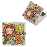 Silver-tone Textured Orange/Yellow Enameled Floral Square Brass Pillbox