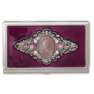 Steel Purple Enameled & Rose Quartz Business Card Holder