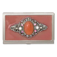 Steel Peach Enameled & Strawberry Quartz Business Card Holder