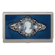 Steel Blue Enameled & Cameo Business Card Holder