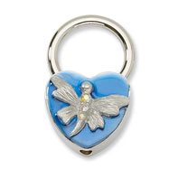 Silver-tone Dragonfly With Crystals Blue Enamel Key Fob