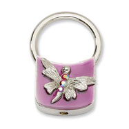 Silver-tone Dragonfly With Crystals Purple Enamel Key Fob