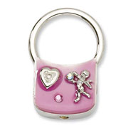 Silver-tone Angel With Crystals Pink Enamel Key Fob