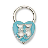 Silver-tone Cats With Crystals Aqua Enamel Key Fob