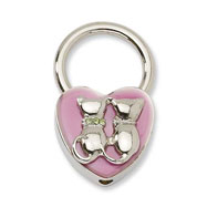 Silver-tone Cats With Crystals Pink Enamel Key Fob