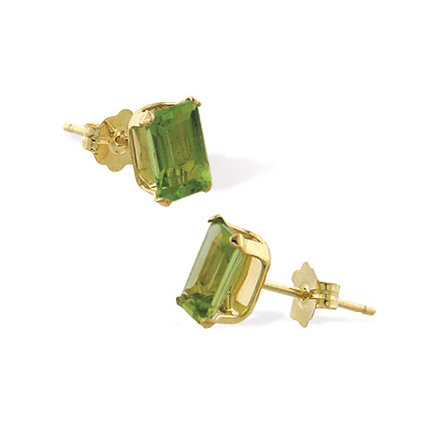 14K 6x4mm Genuine Semi-Precious Peridot Emerald Cut Studs. Price: $86.60