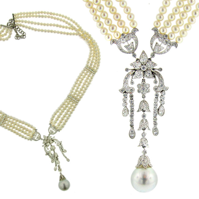 South Sea and Cultured Pearl 18k White Gold 3.32ct Diamond Necklace. Price: $19680.00