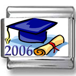 2006 Graduation Cap and Diploma Photo Charm