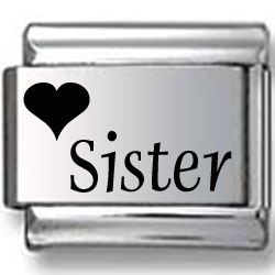 Heart Sister Laser Charm