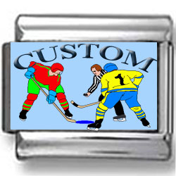 Custom Hockey Face-off Photo Charm