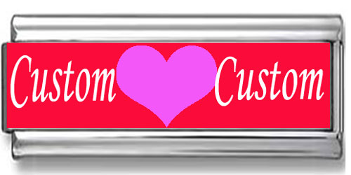 Double Link Custom Heart Names Photo Charm