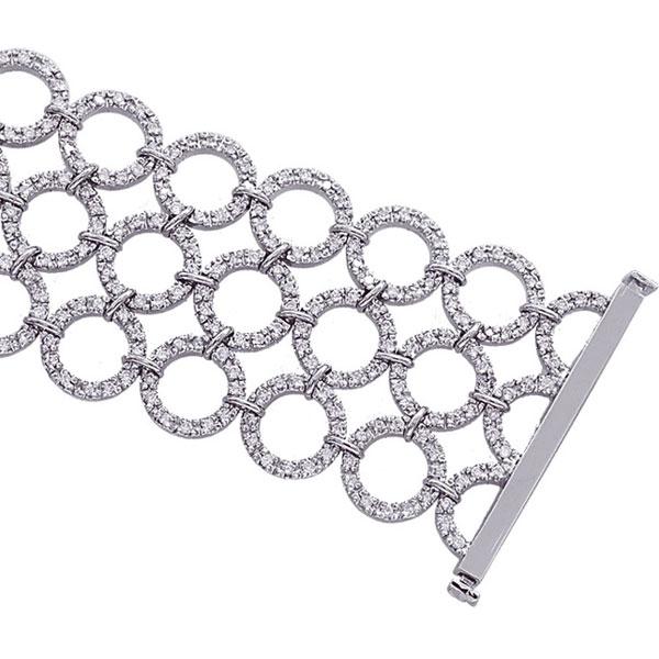 14K White Gold 4.65ct Diamond Triple Row Circle Bracelet. Price: $8880.00