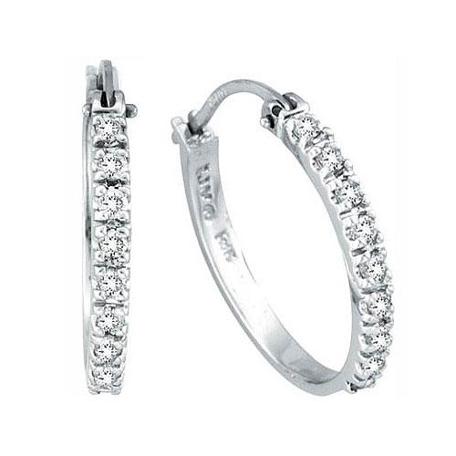 14K White Gold .50ct Diamond Hoop Earrings SI1-SI2 G-H. Price: $683.52