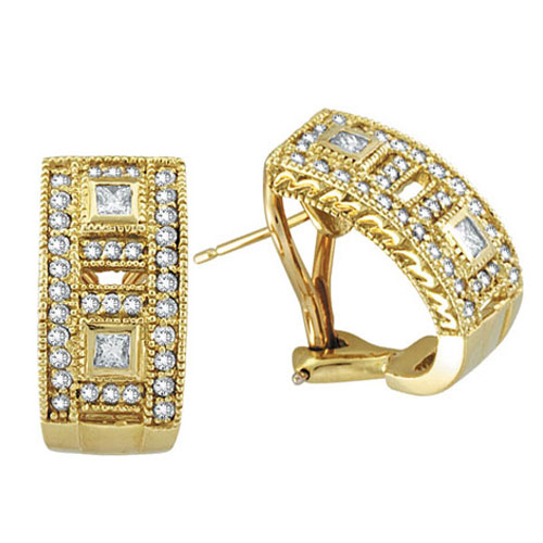 18K Yellow Gold 1.0ct Diamond Antique-Style Earrings SI1-SI2 G-H. Price: $2984.64