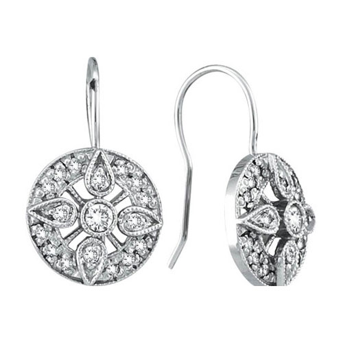 14K White Gold .51ct Diamond Antique-Style Drop Earrings SI1-SI2 G-H. Price: $793.92