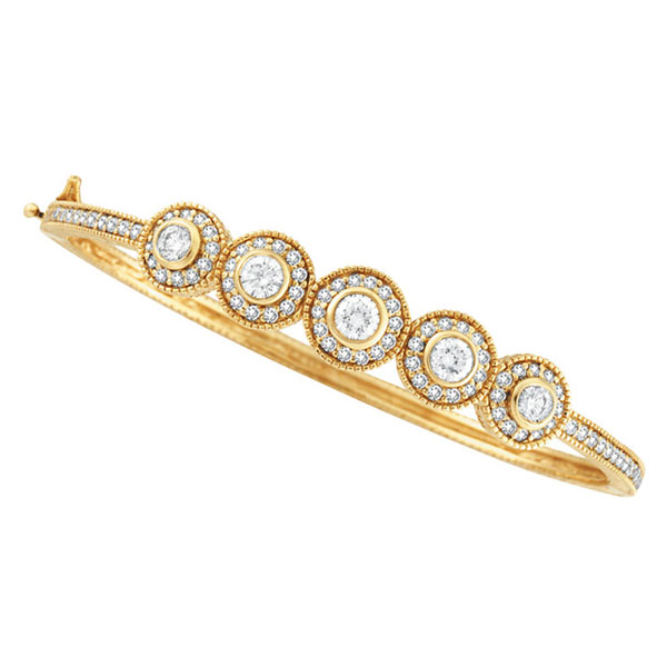 18K Gold Designer 2.53 Diamond Bangle Bracelet SI1-SI2 G-H. Price: $7517.76