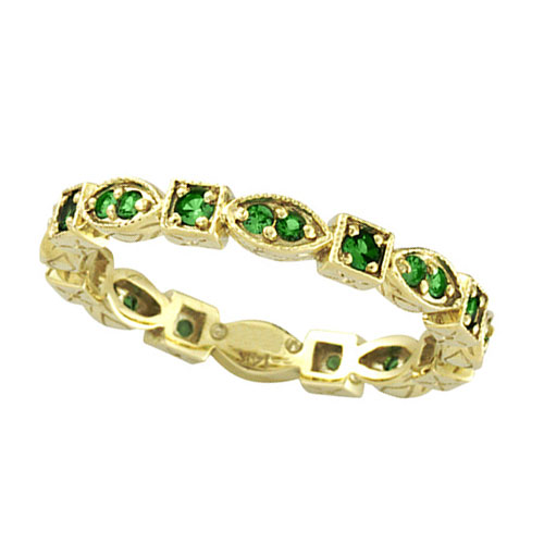 14K Gold Eternity .34ct Tsavorite Stackable Guard Ring. Price: $546.24