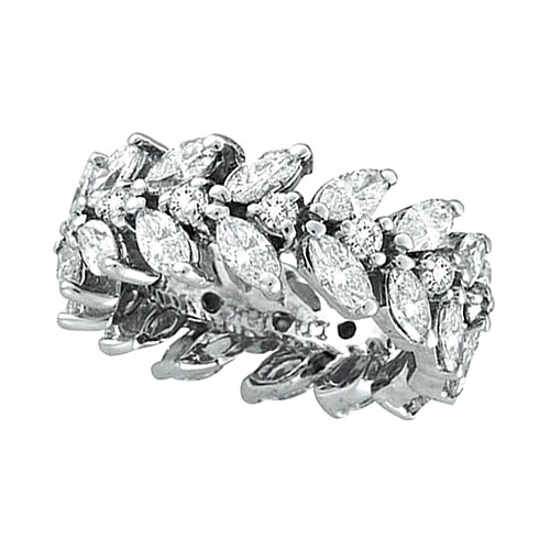18K White Gold Marquise 4.02ct Diamond Eternity Floral Leaf Ring Band SI1-SI2 G-H. Price: $14472.00