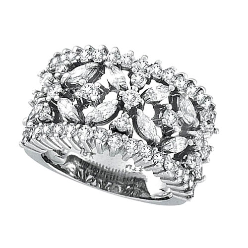 18K White Gold 2.34 Diamond Floral Burst Ring SI1-SI2 G-H. Price: $5259.84