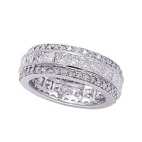 14K White Gold Eternity 4.92ct Diamond Band Ring SI1-SI2 G-H. Price: $10913.28