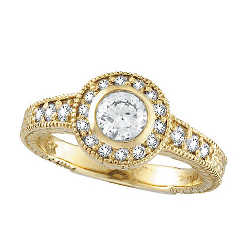 18K Yellow Gold .80ct Diamond Bezel Ring SI1-SI2 G-H. Price: $3317.76