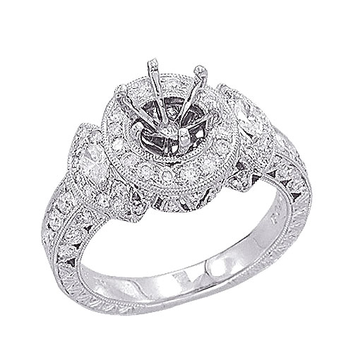 18K White Gold .85ct Diamond Semi Mount Antique Style Setting SI1-SI2 G-H. Price: $2689.92