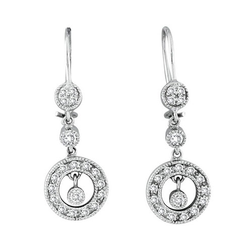 14K White Gold .32ct Diamond Dangle Drop Graduated Circle Earrings. Price: $694.08