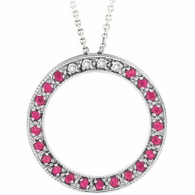 14K White Gold .04ct Diamond &.21ct Pink Sapphire Circle Pendant Necklace. Price: $431.60