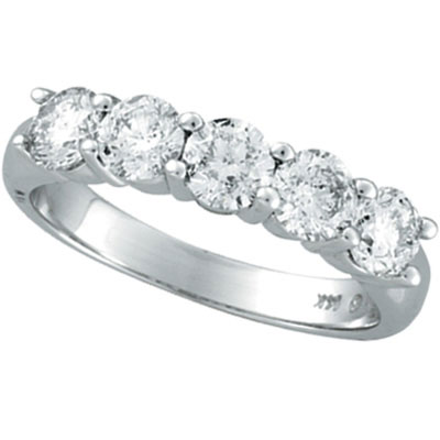 14K White Gold Five 5 Stone 1.5ct Diamond Ring SI1-SI2 G-H. Price: $4596.48