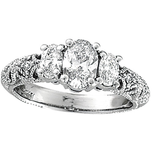 18K White Gold Three Stone 1.25ct Diamond Ring SI2 H-I. Price: $10831.68
