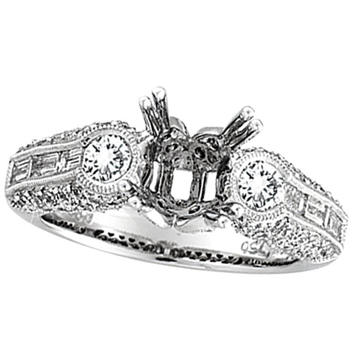 18K White Gold 1.7ct Diamond Semi Mount Antique Style Setting SI1-SI2 G-H. Price: $5379.84